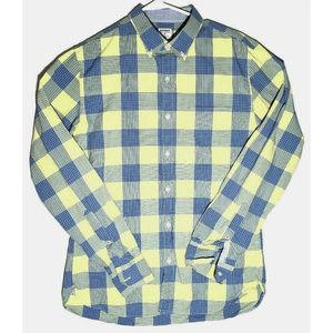 Bonobos Mens Sli Fit Yellow Blue Plaid Shirt M